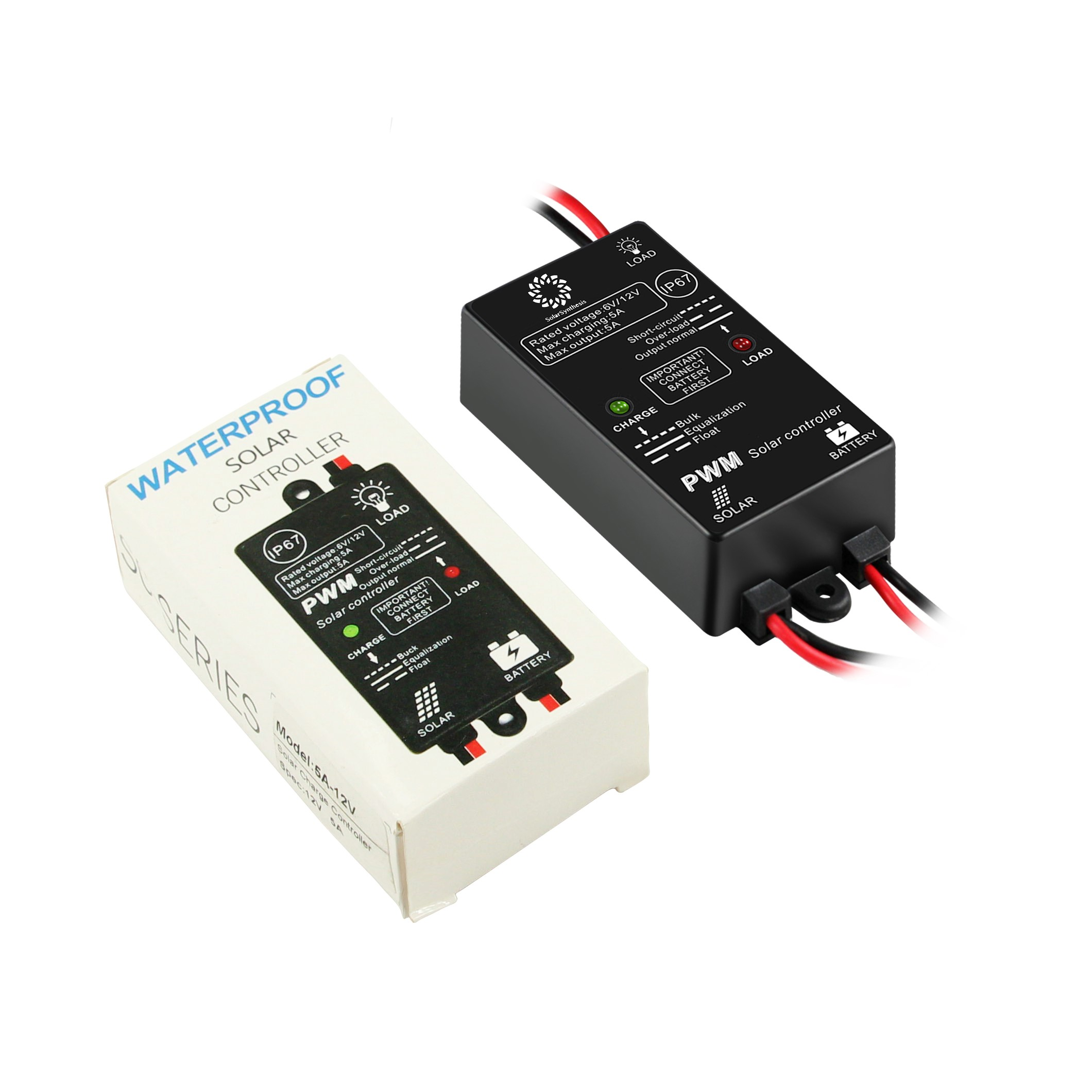 Solarsynthesis 5a 12v 6v Load On 24hours Ip67 Waterproof Solar Charge Controller Circuit For Lead Acid Battery Charing And Discharging Control